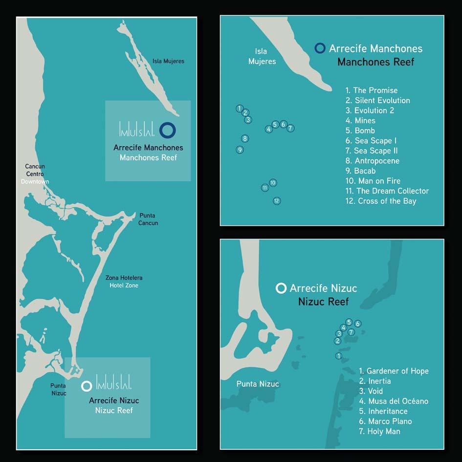 Cancun Sualtı Heykel Müzesi MUSA Harita